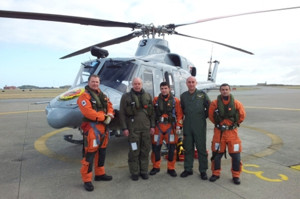 Albanian pilots participate in a search and rescue operation in England