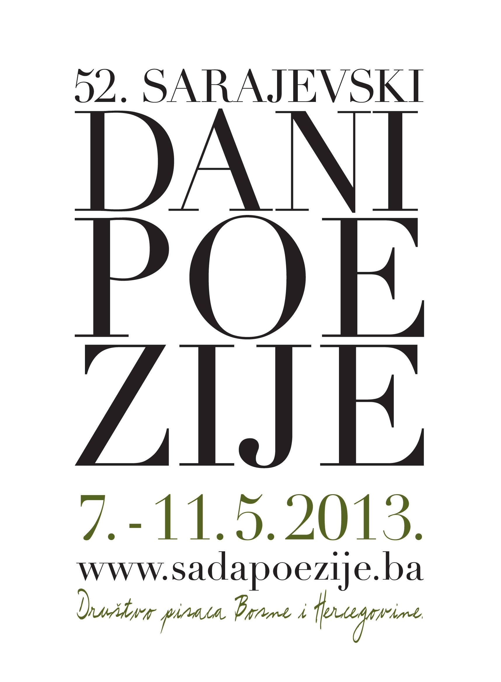52nd Sarajevo Days of Poetry (Sarajevo Dani Poezije) from 7-11 May