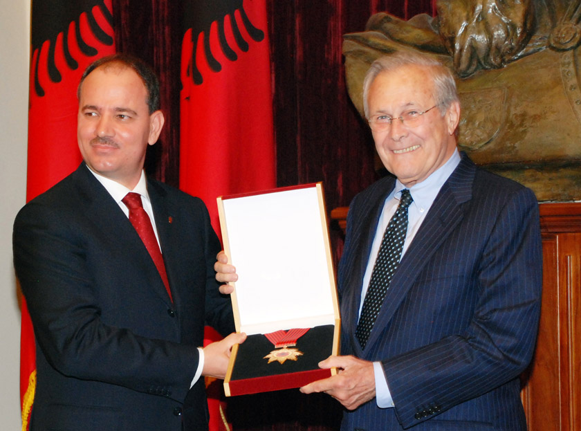 President of Albania awarded the Medal of National Flag to the former US Secretary of Defense, Rumsfeld