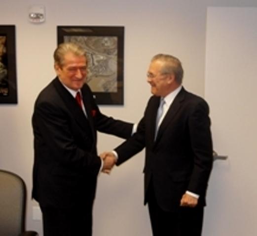 Premier Berisha receives the former US secretary of defense Donald Rumsfeld
