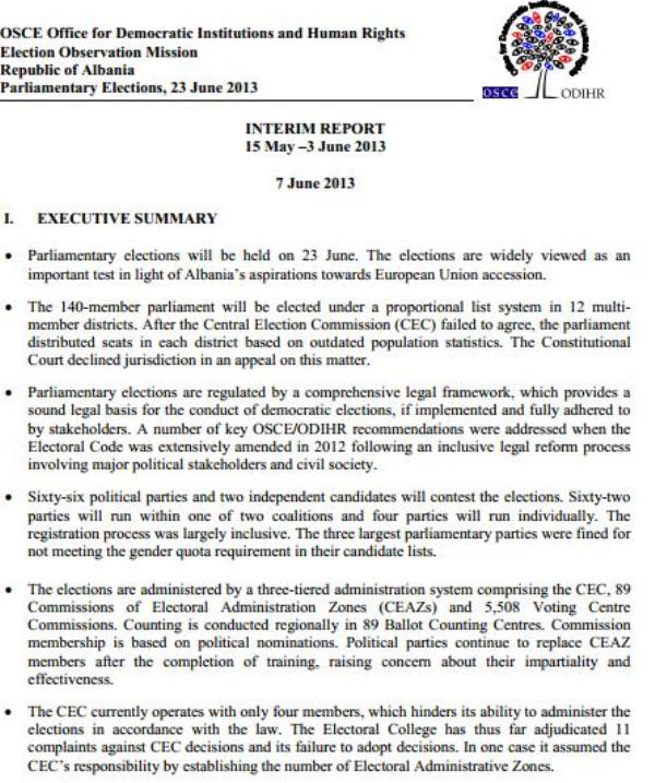 OSCE/ODIHR report: The elections are a key test
