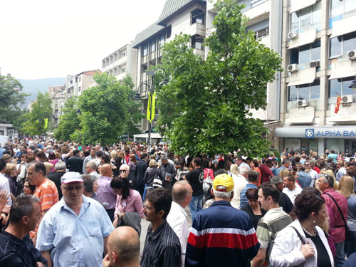 Protest held in favor of the construction of a church in the Skopje square