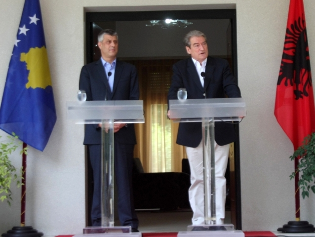 Premier of Kosovo Thaci meets Albanian PM Berisha at the end of his term in office
