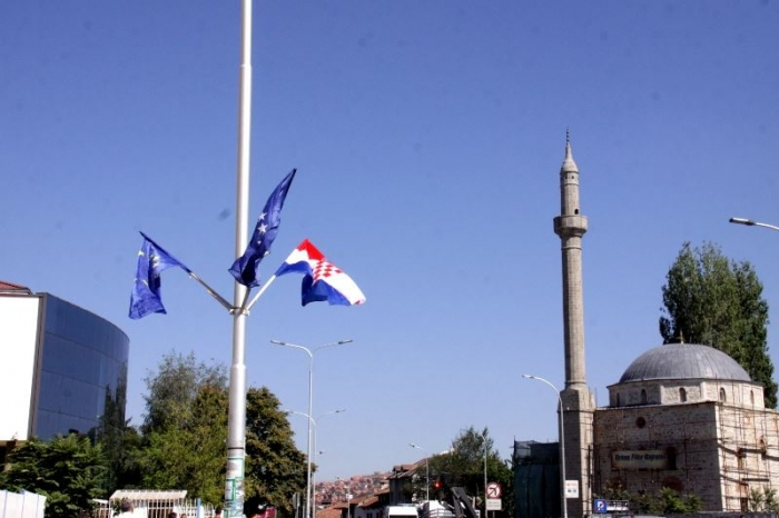President of Croatia in Kosovo, Pristina filled with Croatian flags