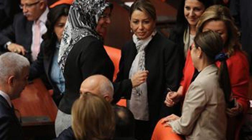 Islamic headsarf worn in Turkish Parliament