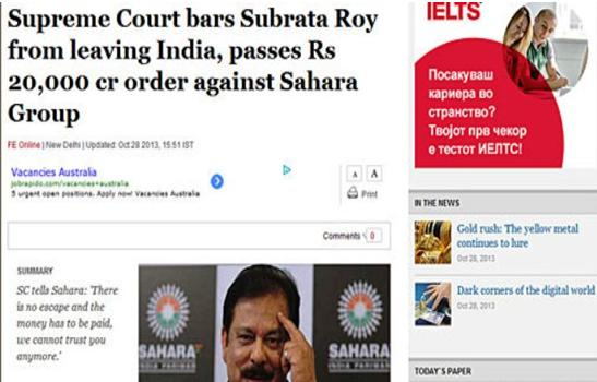 Indian court freezes Subrata Roy's assets, debates in Skopje