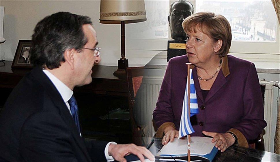 Antonis Samaras holds meeting with Angela Merkel in Brussels