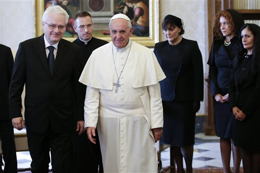 Croatian President satisfied after meeting with Pope Francis