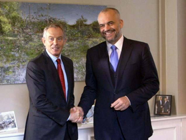 Former British PM Tony Blair visits Tirana