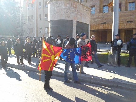 Workers from bankrupted companies hold a protest in front of parliament in Skopje