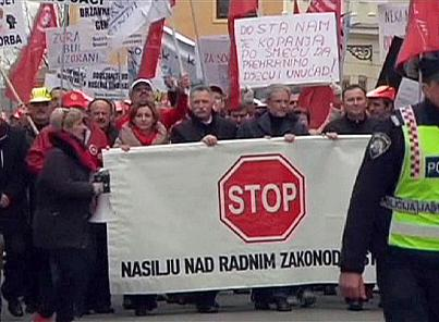 Croatia's trade unions protest against new labour bill