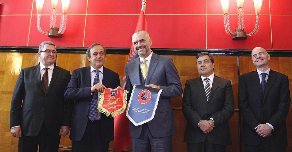 UEFA president visits Albania, new national stadium outside the capital