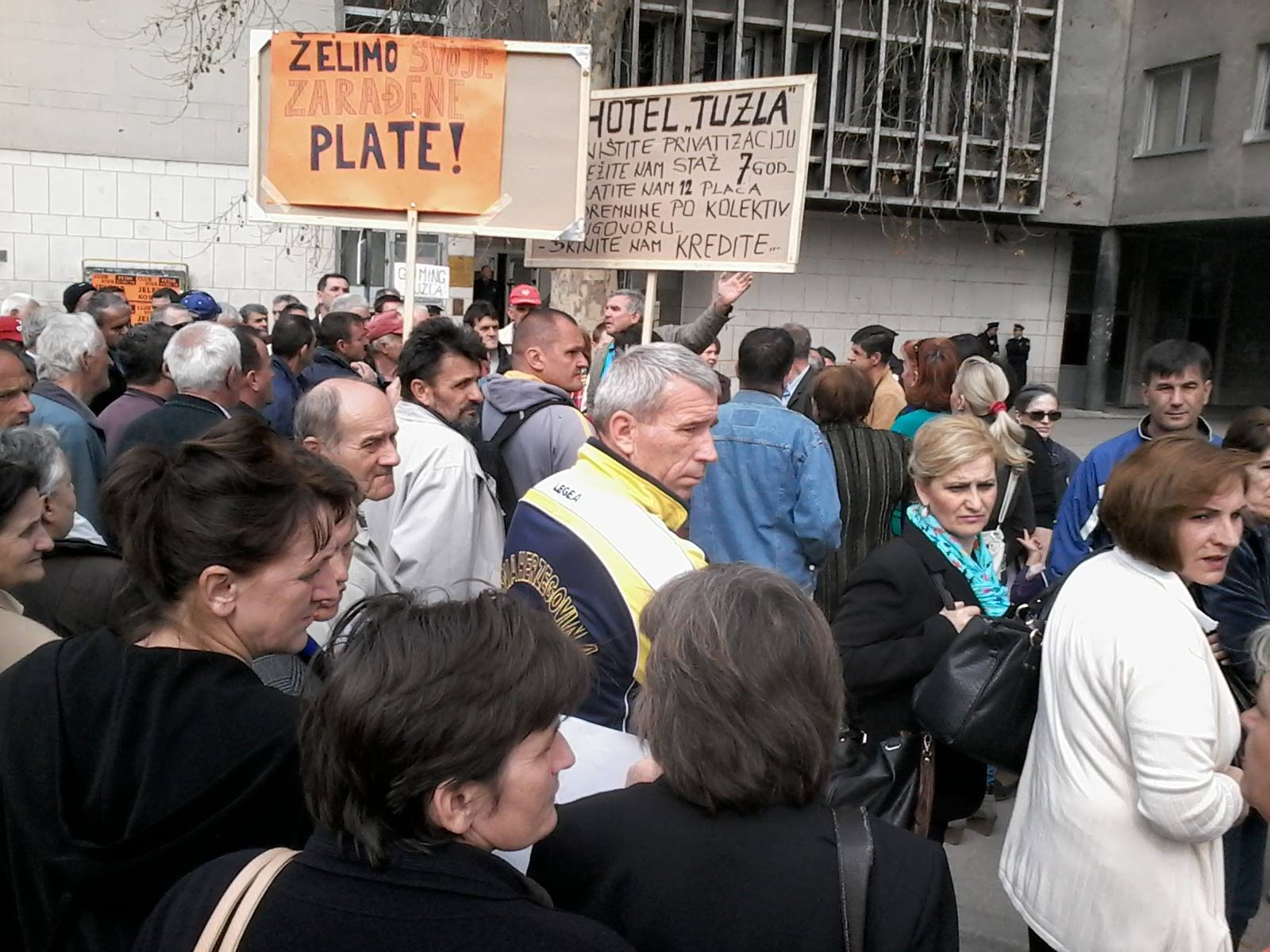 Workers of Tuzla are in Front of Buildings of Court and Tuzla Canton Prosecutor's Office