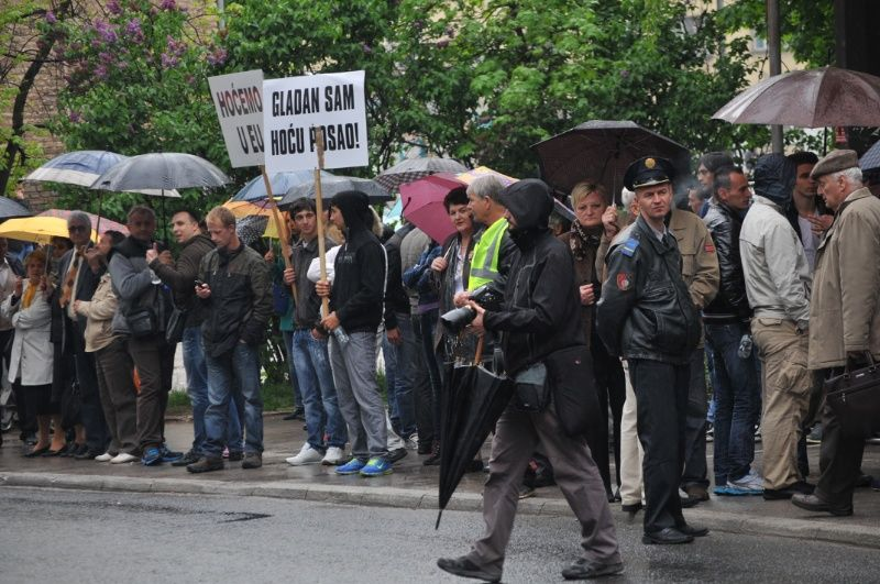 Members of Association of Unemployed in B&H on Streets of Sarajevo