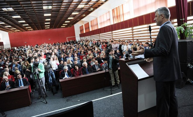Prime minister of Kosovo demands students' support for the third term in office