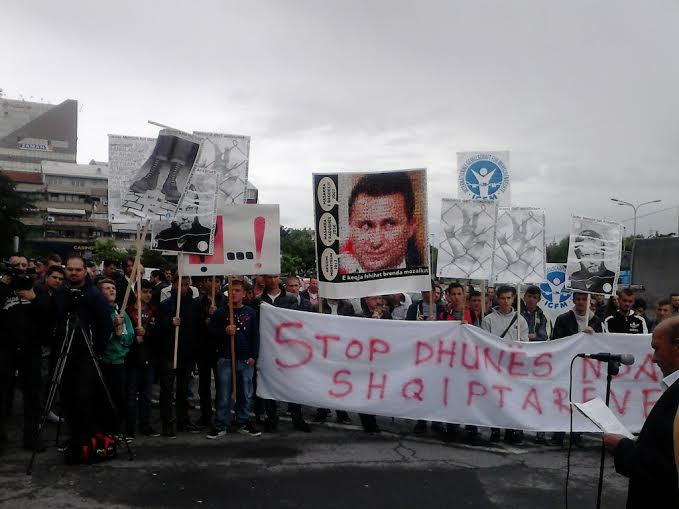 """Protest in Skopje under the motto """"Stop violence against Albanians"""""""