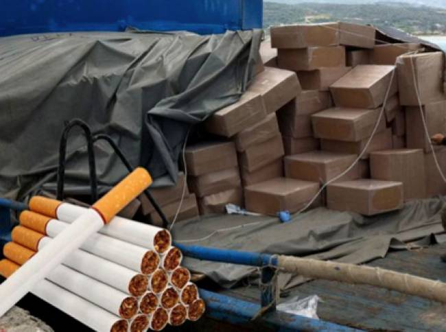 Greek customs in Piraeus confiscated large shipment of contraband cigarettes