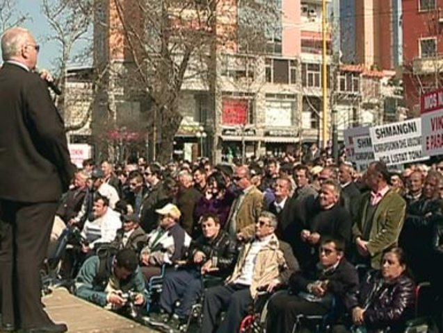 Disabled people in Albania protest against the new law