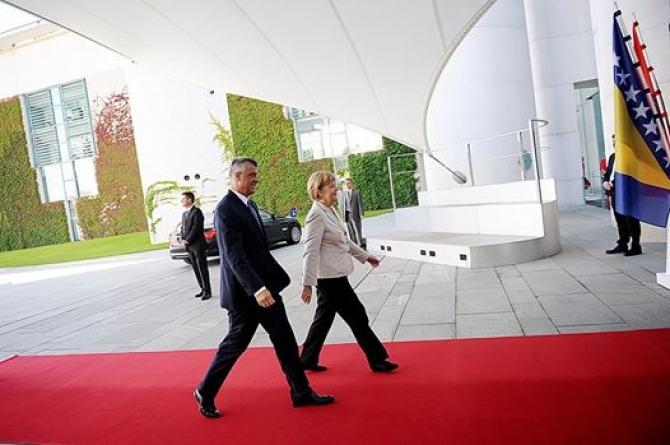 Kosovo's PM Thaci  meets German chancellor Merkel