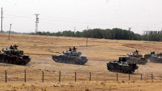 Turkish tanks assumed position at the Syrian border