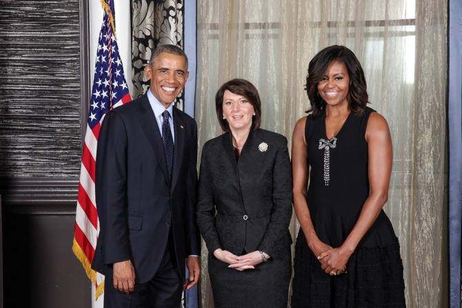 President Jahjaga received by US president Barack Obama