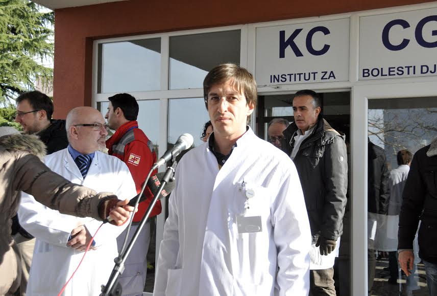 Health care workers protest in Montenegro over the arrest of colleagues