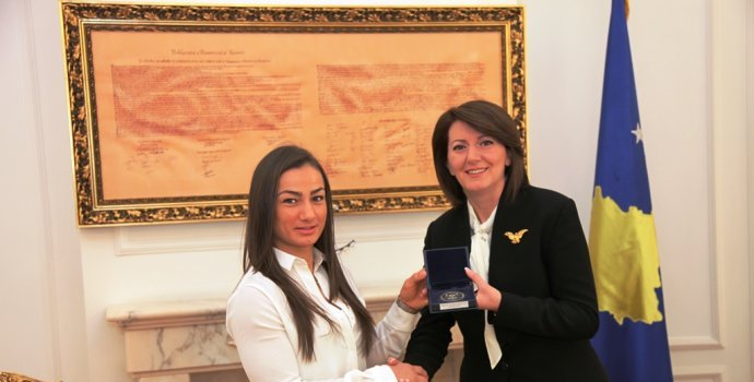 Judo fighter Majlinda Kelmendi receives the Presidential Medal of Merits