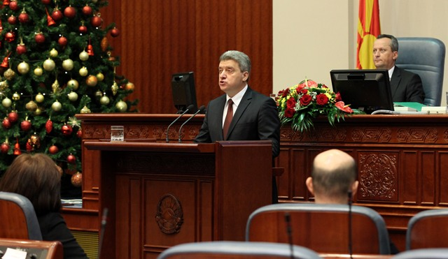 Macedonian opposition and Albanian parties boycotted the annual speech of president Ivanov