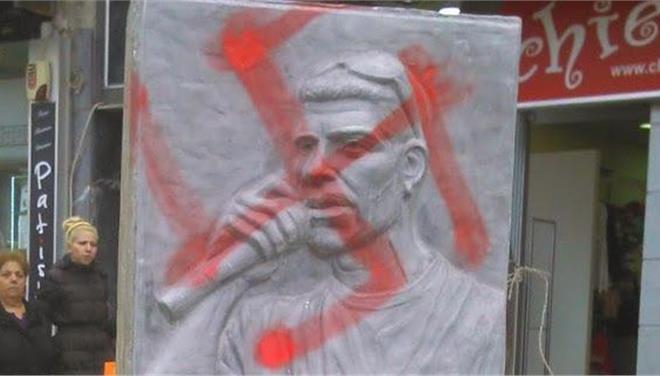 Strangers desecrated the monument of Fyssas in Keratsini