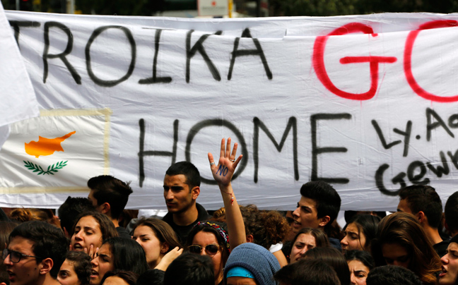 Students protest against austerity in Cyprus