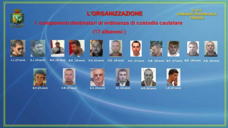 A large amount of marijuana and cocaine seized in Italy, 17 Albanians arrested
