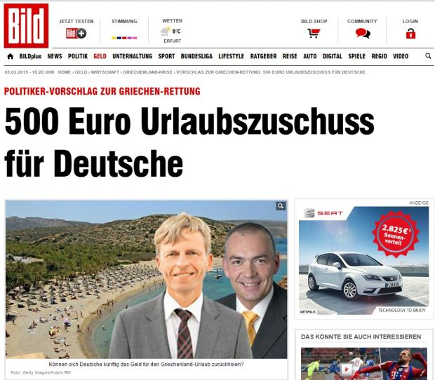500 euros tax return to German tourists vacationing in Greece