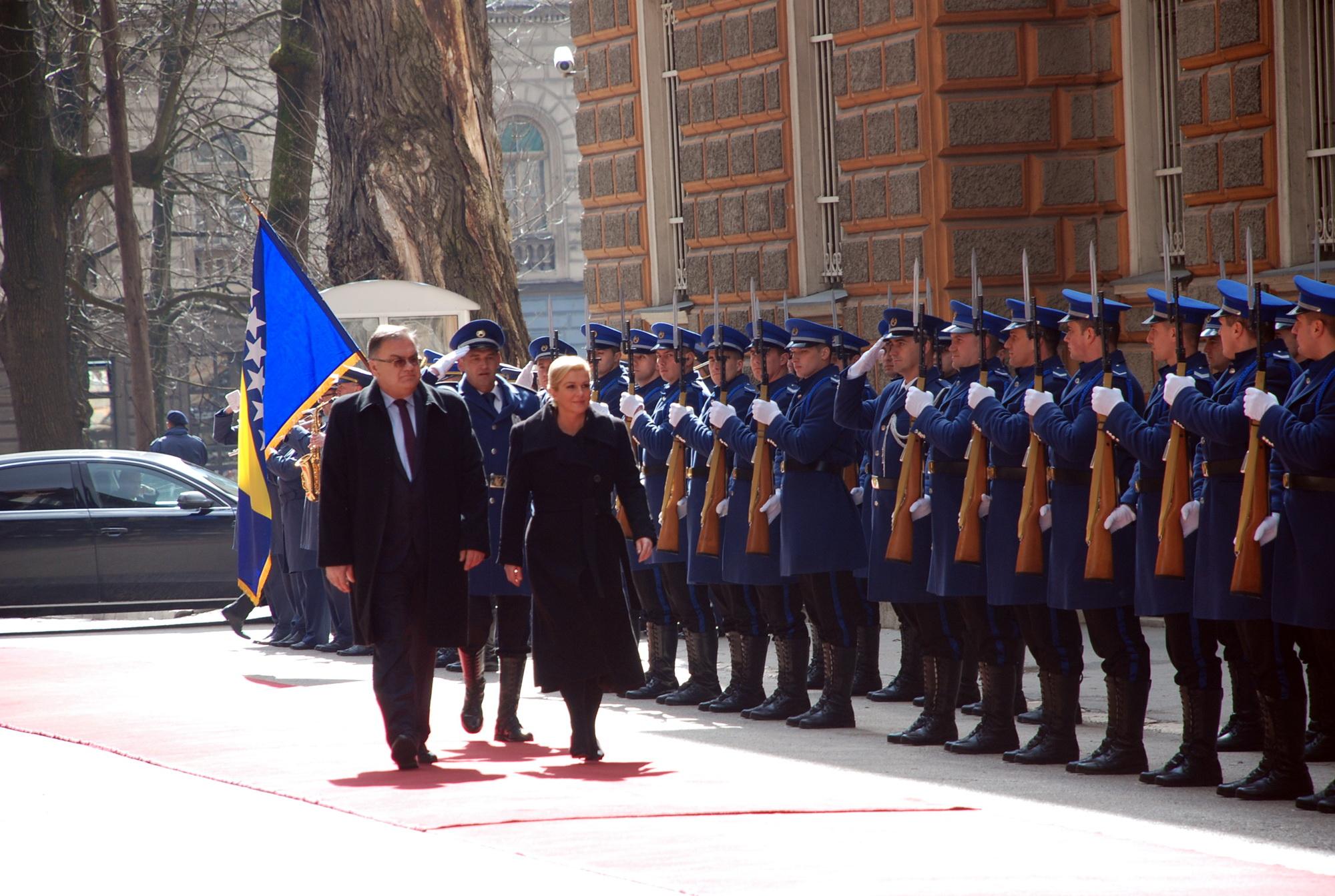 Grabar Kitarovic on an official visit to Sarajevo