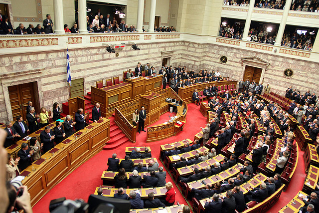 Tension in the Greek Parliament during the vote for bill on type C prisons