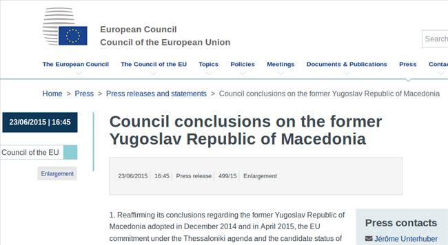 EU Council issues several conclusions on FYROM