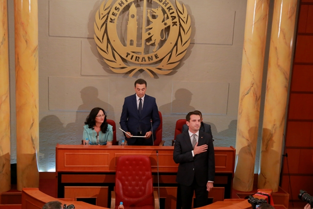 Former minister Erion Veliaj takes the oath as the new mayor of Tirana