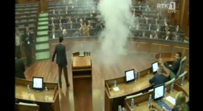 Tension in the parliament of Kosovo