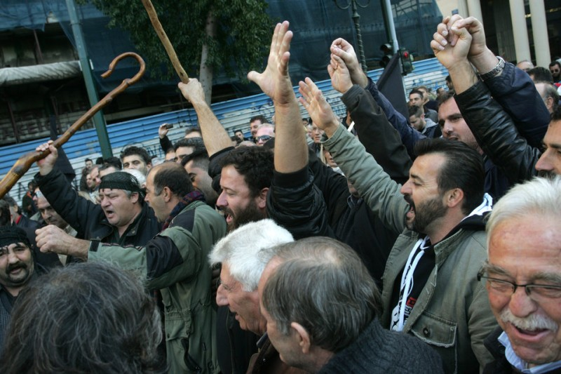 Tension in the demonstration of farmers in Athens