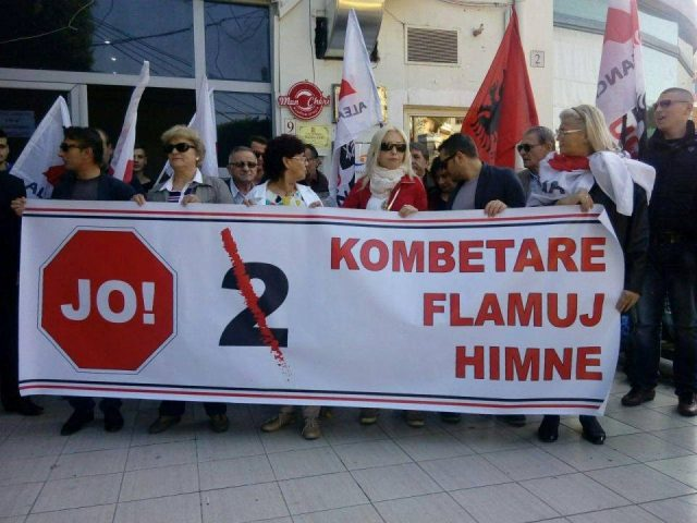 Protests against the match between Kosovo and Albania