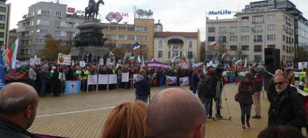 Bulgarian police chant for government's resignation at national protest in Sofia