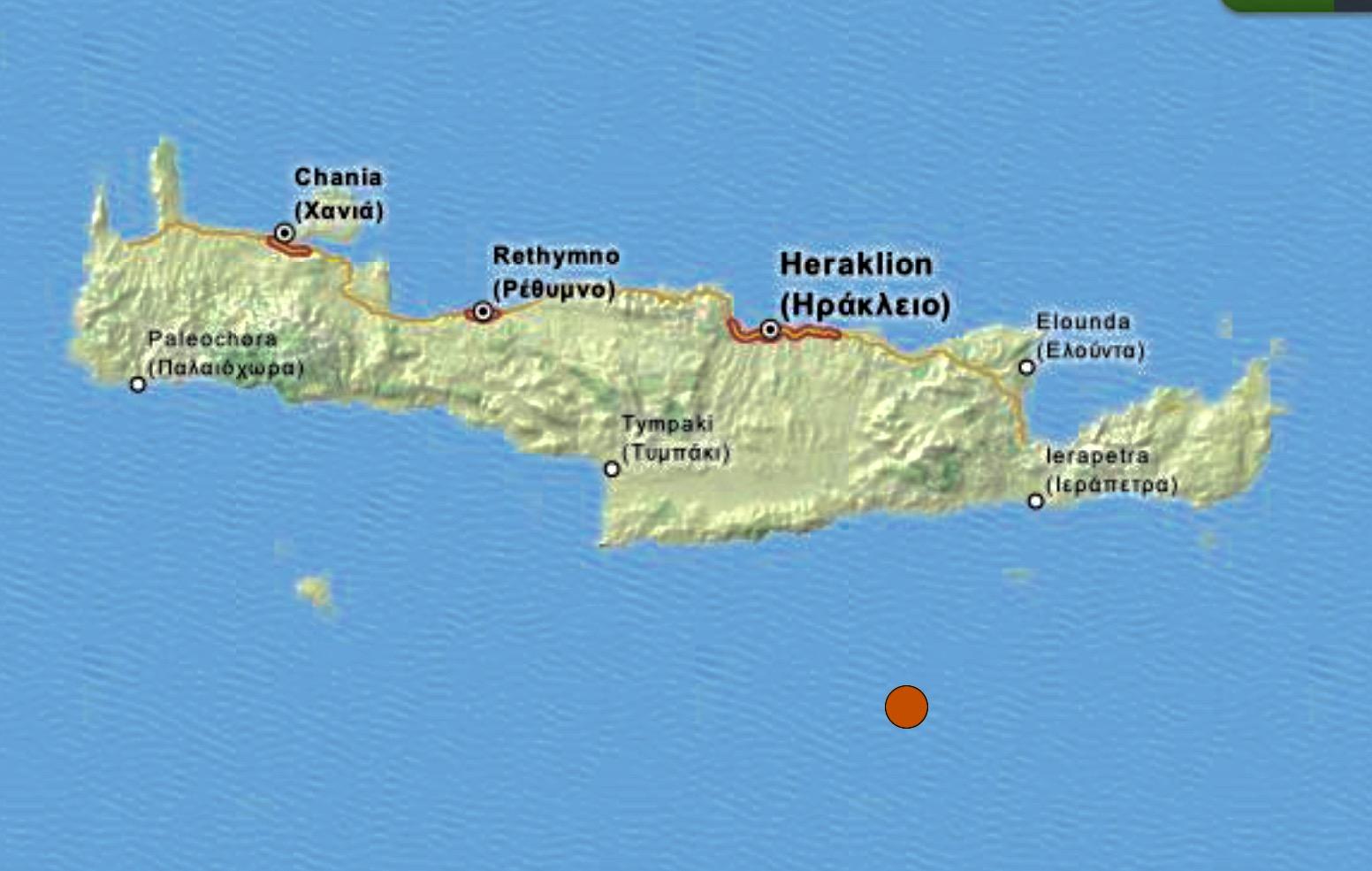 Minor earthquake south of Crete