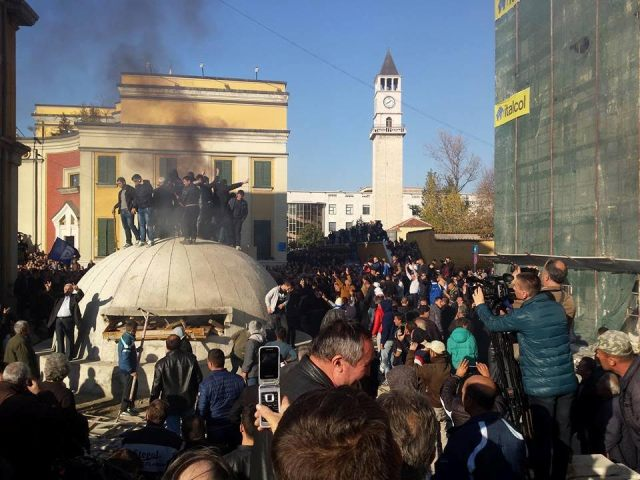 Opposition protest in Tirana marked by incidents