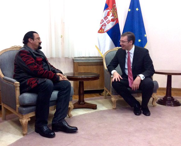 Vucic meets US Ambassador and Steven Seagal amid coup claims