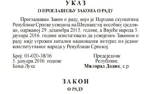 Disputed Labour Law signed by RS President Dodik