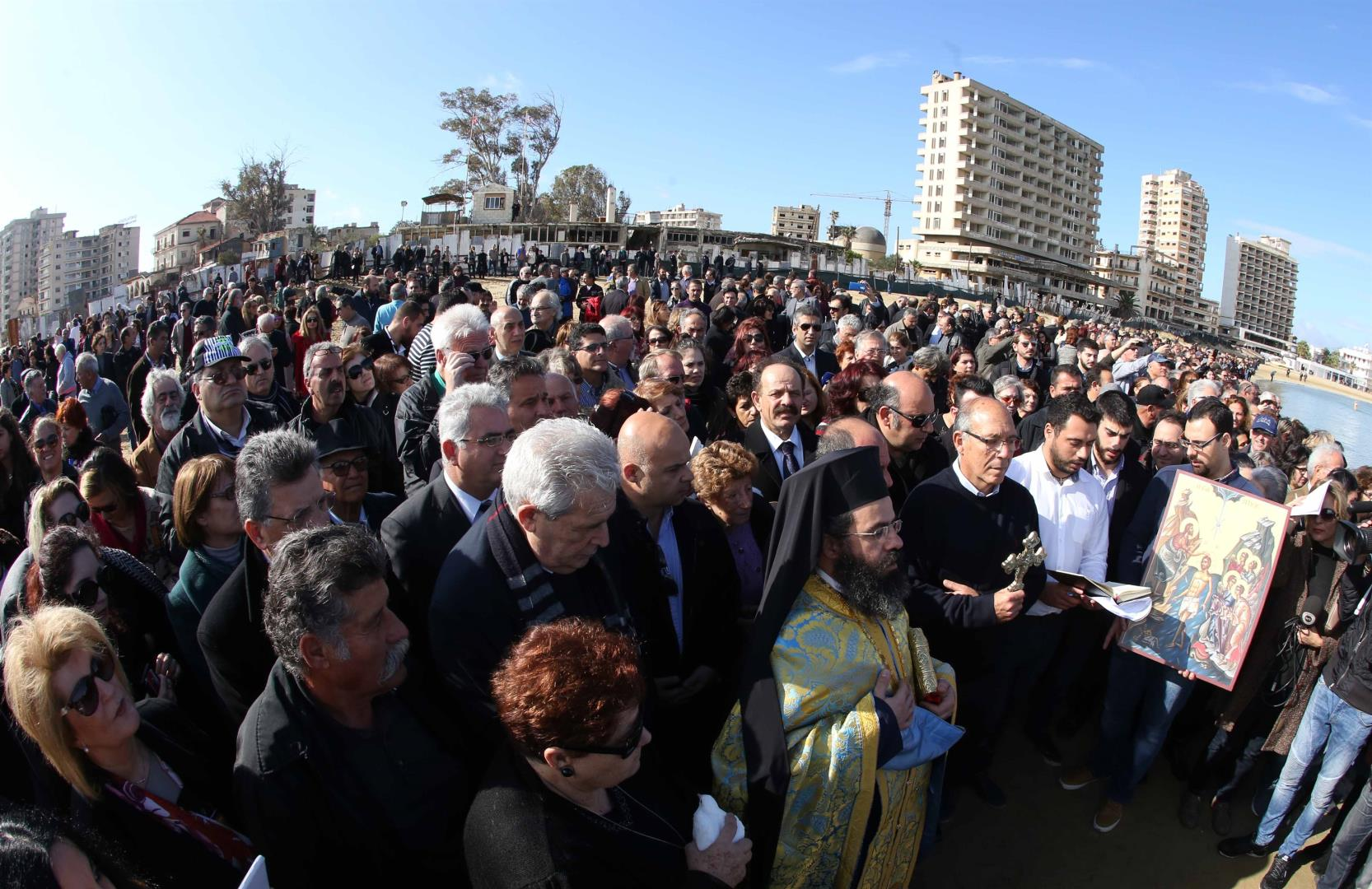 Pilgrims from all over Cyprus attend Epiphany liturgy in occupied Famagusta after 42 years