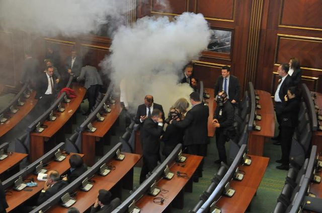 Opposition in Kosovo lets off teargas inside of parliament