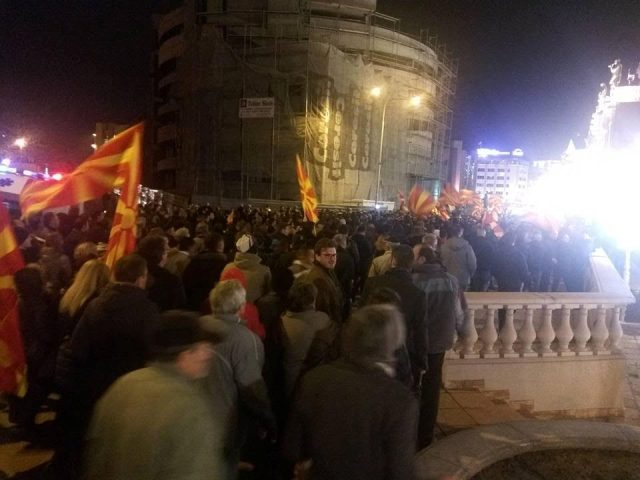 Protests and counter protests in front of the Constitutional Court in Skopje