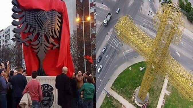 The placement of crosses and eagles is sparking tension in FYROM