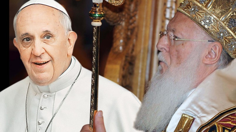Pope Francis, Patriarch Bartholomew and Archbishop of Athens Hieronymus in Lesvos