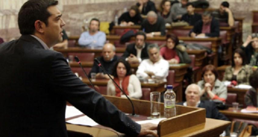Tsipras attacks IMF in speech to Syriza parliamentary group